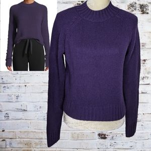 Vince Purple Cashmere Ribbed Cropped Sweater L